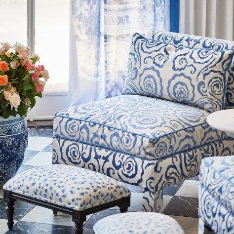 Custom slipper chair in Scalamandre cut velvet