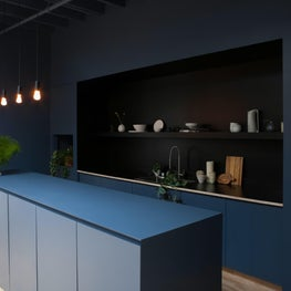 Based In Studios | Co-working in Manhattan with Modern monochromatic Blue Kitchen Area