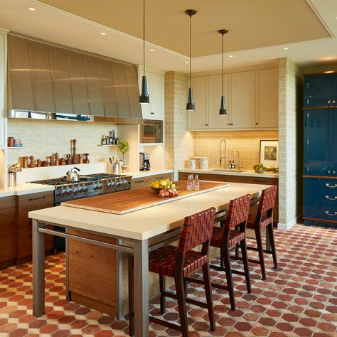 Eclectic Modern Kitchen with Terra Cotta Tile Floors