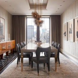 Walker Tower Dining Room with pleated silk wall covering