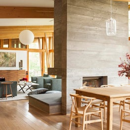 Great room with board-formed concrete fireplace