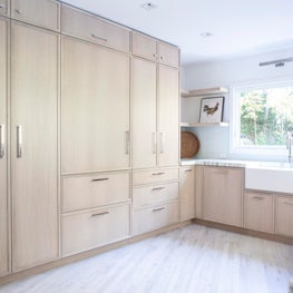 East Hampton Kitchen with Custom Cerused Oak Cabinetry, Farmhouse Sink & Marble Countertops