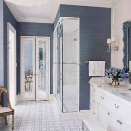 Blue and White Feminine Master Bathroom