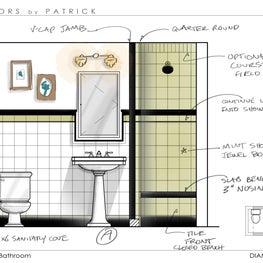 Upper West Side Manhattan Deco Revival Bathroom Design Elevations