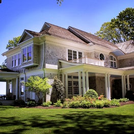 Shingle Style on the waterfront in Lloyd Harbor, New York.
