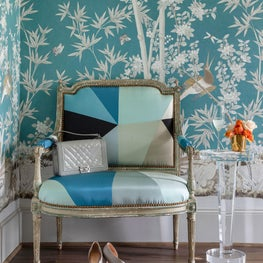 Colorful corner with custom upholstery on French antique settee
