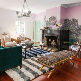 Family Room with custom mural and layered seating