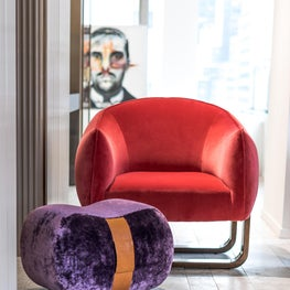 Milo Chair, Milo Ottoman  -Showroom Vignette D&D Building -MB Collection