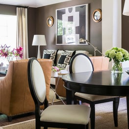 Houston Living Dining with Rich Mocha Walls, Traditional Masculine Style