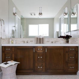 Master bathroom double vanity with custom cabinetry