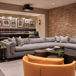 Lower Level Media Room Design in an Urban Classic Chicago Home