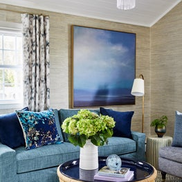 Coastal living room in blues and teal