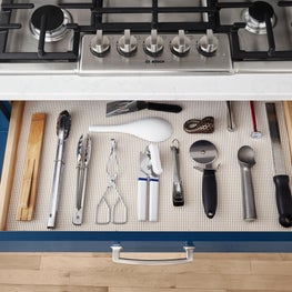 Utensil Drawer Detail in Blue Painted Traditional Kitchen