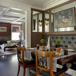 Parisian-Style Mirrored Banquette with Biedermeier Chairs