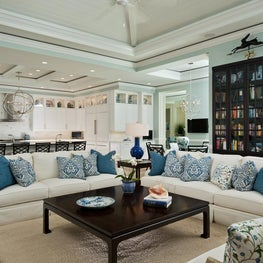 Florida Gathering Room with Custom Cabinetry by Diane Burgoyne Interiors