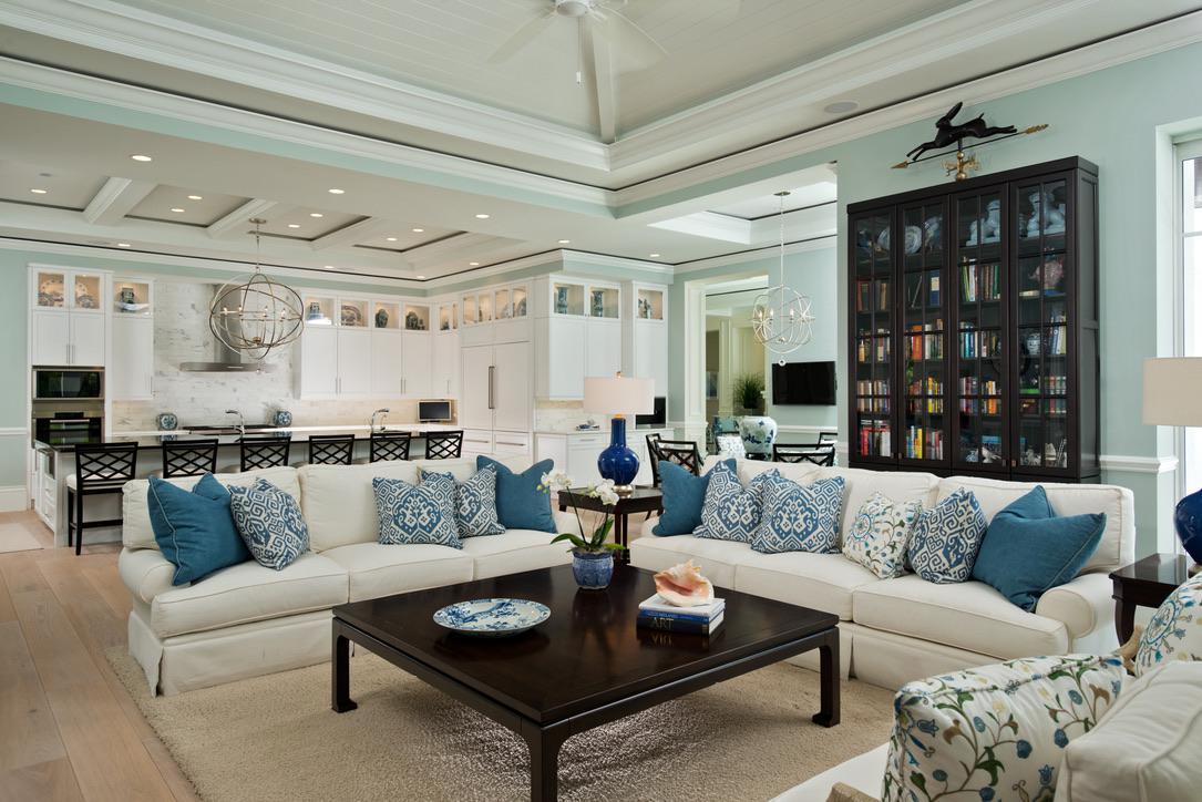 Florida Gathering Room with Custom Cabinetry by Diane Burgoyne Interiors
