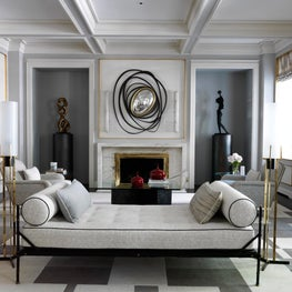 New York living room with balanced and harmonious geometry and color