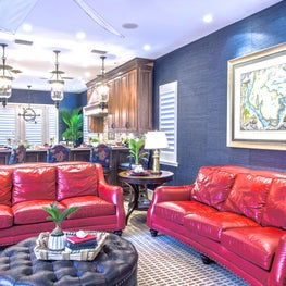 Safety Harbor Nautical Family Room with Red Sofas and Blue Grasscloth Walls
