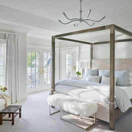 Master Bedroom, Palecek Bed, Noir Furniture Lighting, Phillip Jeffries Wall Covering, Arteriors Home Lamp — Pine Lake Project