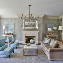 Formal living room- blue hand painted wallpaper, Venetian mirror & gold accents