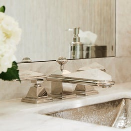 Ravine View Home Powder Room Quartz Faucet Detail