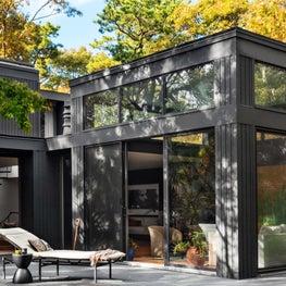East Hampton Modern home, sleek rear facade with large windows