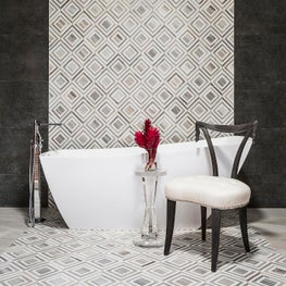 Stylish Tile Wall in a Contemporary Master Bath with Antiques and Modern Accents