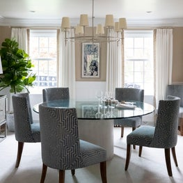 Round Dining Table with Custom Upholstered Chairs