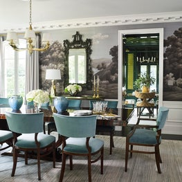 Dining Room with Custom Fromental Wallpaper