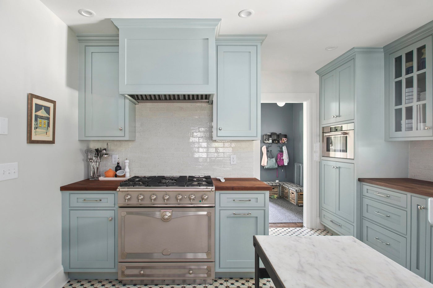 North End Boise Kitchen, concrete tile, blue cabinets, wall steam oven