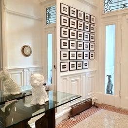 UES Townhouse, Jeff Koons Terrier, Mosaic Floor, Stilnovo Chandelier, Fornasetti Mirror