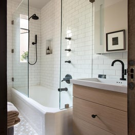 Bathroom Make-over, Matte Black Hardware, White Subway Tile with Beige Grout