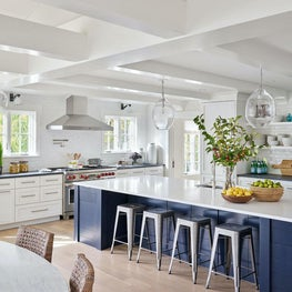 Kitchen, Simon Pearce Lighting, Dornbracht Sink, Design Within Reach Barstools, Annie Selke Rug — Pine Lake Project