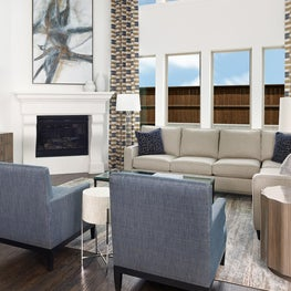 Frisco, TX Contemporary Living Room with 2 story ceiling