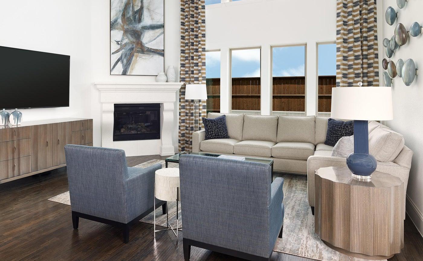 Frisco, TX Contemporary Living Room with 2 story ceiling