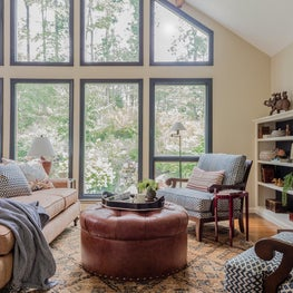 Renovated Living Room with Vaulted Ceiling in Sudbury 1970s Colonial