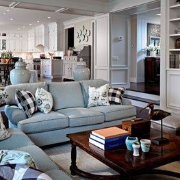 Open Floor Plan, Paneled Arch, Built-in bookcases, Stanford Furniture, Antiques