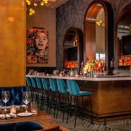 Sophia Loren wall art overlooks the bar