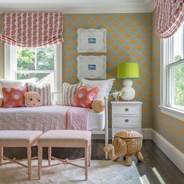 Girls Bedroom with Orange Floral Wallpaper, Roman Shades and Lime Green Accents