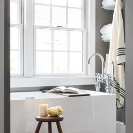Eclectic Master Bathroom with Waterworks fixtures