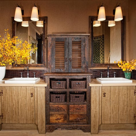 Mammoth Lakes, CA. Rustic vanity with reclaimed wood, mountain master bath