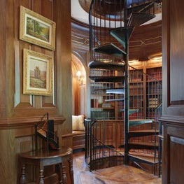 Paneled Mahogany Library, Office and Spiral Stair