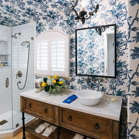 Montecito Residence, Powder Room with Raoul Textile wall covering