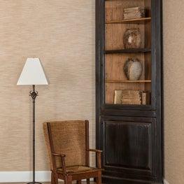 Cork Corner Cabinet, Ferry Floor Lamp & Antique Chair