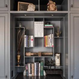 17th Street Residence, custom bookcases in gray