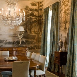 Hand painted Gracie swamp scene in a French Colonial Dining Room.