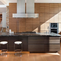 Modern kitchen with European wood veneers and textural finishes