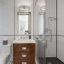 1940s Inspired Guest Bathroom with Black and White Tile