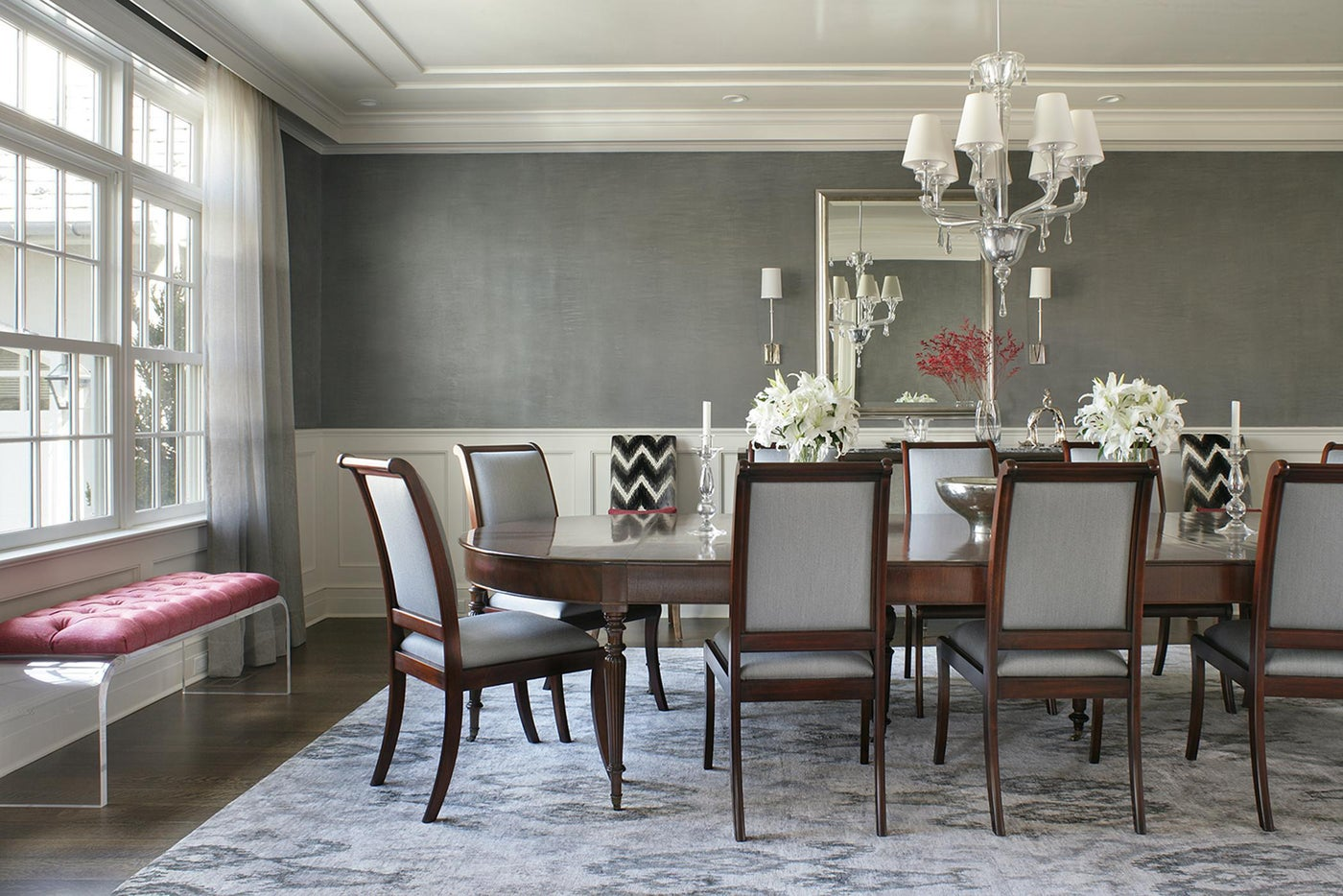 Formal Dining Room with Metallic Venetian Plaster Walls and High Gloss Ceiling