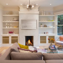 Contemporary Living Room with Porcelain Tile Hearth
